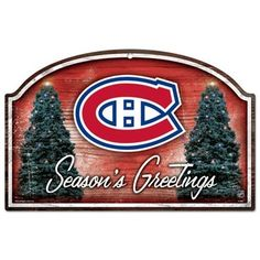 Montreal Canadiens Season's Greetings Holiday Wood Sign