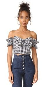 This gingham WAYF crop top is styled in an off-shoulder silhouette. Boning structures the sweetheart neckline. Off Shoulder Crop Top, Shoulder Shirts, Trendy Fashion, Fashion Looks, Womens Fashion, Black And White Crop Tops, Black White, Top Wedding Dresses, Gingham Shirt