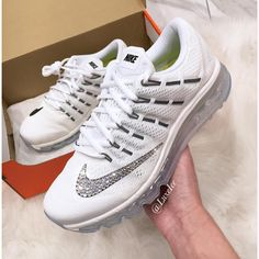 Bling Nike Air Max 2016 Running Shoes white/black With Swarovski... ($219) ❤ liked on Polyvore featuring shoes, athletic shoes, silver, sneakers & athletic shoes, women's shoes, athletic running shoes, shiny shoes, polish shoes, black and white running shoes and black and white shoes