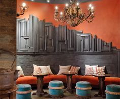 Roy St Coffee + Tea - cozy, beautiful colors, dark wood, velvet curtains + chairs, chandeliers