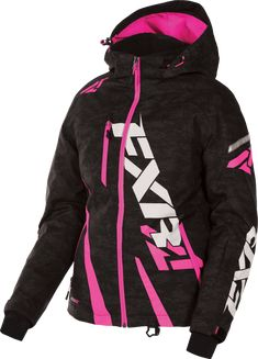 FXR Womens Black Digi/Fuchsia Boost Snowmobile Jacket Shell w/ Liner Snocross Fox Racing Clothing, Snowmobile Clothing, Camo Outfits, Trendy Outfits, Loose Fit Jeans, Shirt Style, Motorcycle Jacket, Winter Fashion, Womens Fashion