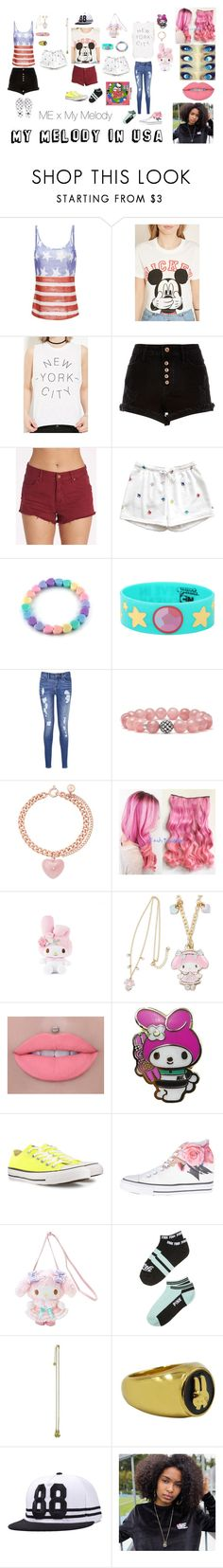 """My Melody in USA"" by teanster123 ❤ liked on Polyvore featuring Forever 21, River Island, Billabong, Cartoon Network, Tommy Hilfiger, Lagos, Michael Kors, Converse and country"