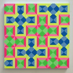 A debut exhibition of colorful neon and geometric Op-Art paintings with woven bold patterns by Carl Cashman that come alive in the dark. Geometric Painting, Geometric Art, Abstract Art, Pattern Art, Print Patterns, Pattern Design, Graphic Design Print, Graphic Prints, Art Optical
