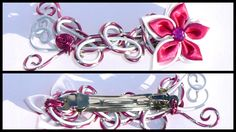 grande barrette fil aluminium fuchsia et blanche fleur : Accessoires coiffure par galibijoux-polymer-clay
