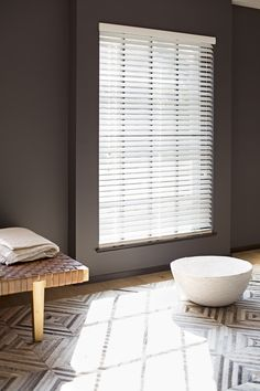 Wood Blinds from The Shade Store in Ivory Smoke Beautiful Blinds, Cellular Blinds, Solar Shades, Wood Blinds, Bathroom Kids, Living Room Bedroom, Dubai, Family Room, Sweet Home
