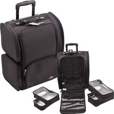 18.5 inch Professional Soft Sided Nylon Black Wheeled Makeup Rolling Case w/ 4 Removable Zippered Clear Bags
