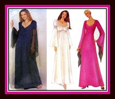 MORTICIA ADDAMS Sexy Goth Style Long Gown-Sewing Pattern-Three Bewitching Styles-Dramatic Sleeves-Daring Bodice-Uncut-Size 6-10-Rare by FarfallaDesignStudio on Etsy