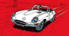 Jaguar E type (Jidéhem) Jaguar E Type, Jaguar Cars, Ligne Claire, Car Illustration, Classic Comics, Car Drawings, Automotive Art, Illustrations And Posters, Art Cars