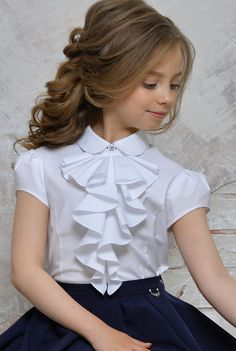 School kids Beautiful girls blouse with tuxedo neck Dresses Kids Girl, Kids Outfits, Flower Girl Dresses, Fashion Kids, Kids Gown, Kids Frocks, Girls Blouse, Kind Mode, Kids Wear