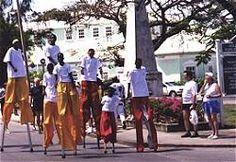 Stilt walkers at the Holetown Festival in Barbados