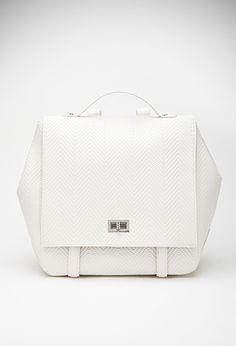 0d9e496eb6c9 Chevron-Textured Faux Leather Backpack