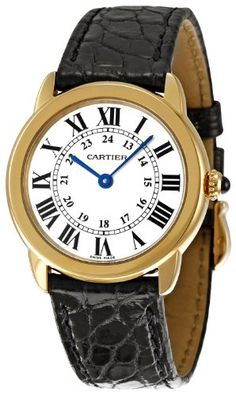 Cartier Women's W6700355 Ronde Solo Crocodile strap Watch ** You can get more details by clicking on the image.