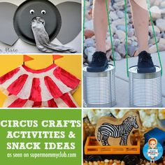 These circus activities, crafts and snack ideas are perfect for preschoolers and toddlers to have fun while they develop new skills Day Camp Activities, Circus Activities, Circus Crafts, Preschool Themes, Toddler Preschool, Toddler Crafts, Toddler Activities, Preschool Circus, Kid Crafts