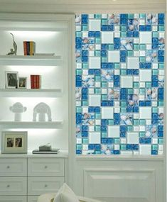 Super Ideas For Bathroom White And Blue Kitchen Tiles Bathroom Floor Tiles, Bathroom Wall Decor, Bathroom Styling, Tile Floor, Bathroom Cabinets, Wall Tiles, Master Bathroom, Blue Kitchen Tiles, Blue Tiles