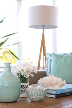Coastal home or not, if your heart's at the beach this summer…this styling feels right. Via Coastal Style