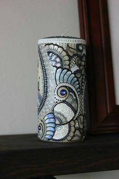 Bespoke Hand Painted Henna Candle by ZeeHennaShoppe on Etsy