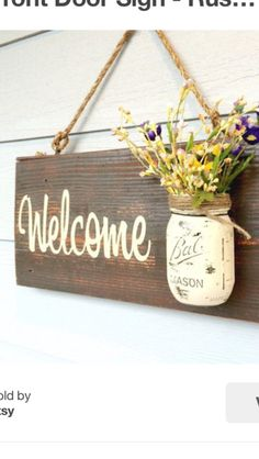 Rustic country home decor front porch welcome sign, spring decor for front porch, outdoor sig. - Rustic country home decor front porch welcome sign, spring decor for front porch, outdoor signs wel - Mason Jar Projects, Mason Jar Crafts, Home Crafts, Easy Crafts, Diy And Crafts, Decor Crafts, Rustic Crafts, Diy Wooden Crafts, Diy Crafts Vases