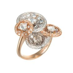 Favero 18K White & Rose Gold Diamond Ring featured in vente-privee.com