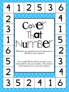 Cover That Number FREE Dice Game. Seniors would like this at the nursing home.