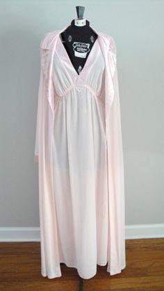 Vintage Lingerie 1970s 70s Pink Nightgown and Peignoir Set Size XL via Etsy