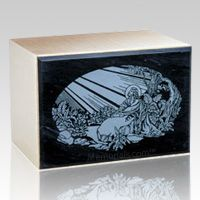 The Remembrance Black Marble & Bronze Cremation Urn is made from natural quarried black marble with a bronze cast urn. The marble urn can be etched with our beautiful designs. Each marble urn is unique and no two urns will ever be the same, a wonderful urn to create memorial for your loved one. You can have this urn with 75 different designs, please see the pictures below (click for enlargement) and select your choice from the menu option.  Back opening.