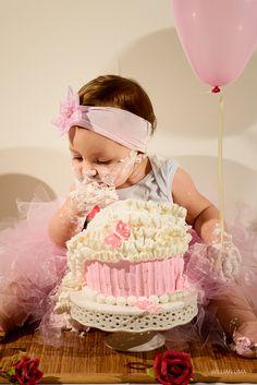Idéias de Fotos para Smash the Cake para menina. Rosa, Marrom e Pérola.