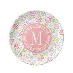 Cute Pink & Blue Girly Floral Personalized Dinner Plate