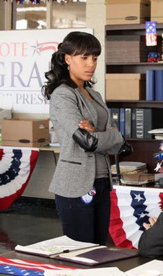 Olivia Pope in a gray heather jacket with black leather elbow patches and piping. #fashion #oliviapope #scandal. I need to find this!!