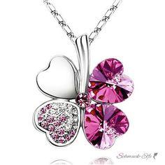 Kleeblatt Swarovski Elements  pink  inkl. Kette  im...