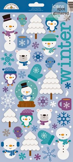 Frosty Friends Launch & Giveaway by Doodlebug Design - check out the Frosty Friends Sugar Icon Stickers - glittered cuteness (Bought)