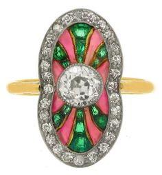 Diamond, emerald and plique-a-jour enamel ring, Polish (Warsaw), circa 1930.