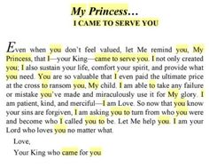 His princess.... I came to serve You