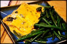 baked salmon with creamy basil sauce