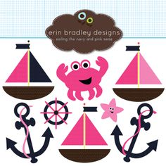 Nautical Girls Clipart Clip Art Preppy Fuchsia Pink and Navy Blue. (Etsy)