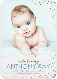 Spectacular Intro: Lapis - Foil Stamped Boy Birth Announcement in Lapis | Magnolia Press