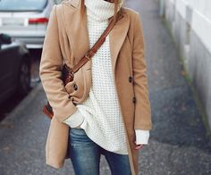 Camel coat and sweater