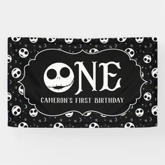 Jack Skellington First Birthday - ONE Banner Outdoor Banners, First Birthdays, Milestone Birthdays, Christmas Birthday, Birthday Kids, Jack Skellington, Nightmare Before Christmas, Keep It Cleaner, Word Out