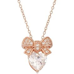 Lab-Created White Sapphire 18k Rose Gold Over Silver Bow & Heart... ($32) ❤ liked on Polyvore featuring jewelry, necklaces, accessories, white, white sapphire necklace, chain necklace, rose gold chain necklace, silver heart pendant and heart charm necklace