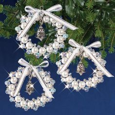 Crystal White and Silver Bell Wreaths Beaded Ornament Kit I love these so much! Mary Maxim – Crystal White and Silver Bell Wreaths Beaded Ornament KitBeadery holiday ornament kit pearl icicles 7446 newRisultato immagini per beaded bellsAdd some sparkle Beaded Christmas Decorations, Christmas Ornament Crafts, Beaded Ornaments, Xmas Crafts, Christmas Tree Ornaments, Christmas Crafts, Diy Ornaments, Summer Crafts, Homemade Christmas