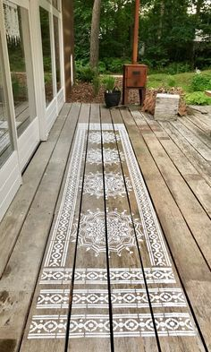 make one strip, or two or three! with our mandala stencils possibilities are end… make one strip, or two or three! with our mandala stencils possibilities are endless! Ibiza carpet stencil is so versatile – just let your imagionation run wild! Outdoor Spaces, Outdoor Living, Outdoor Decor, Mandala Stencils, Stenciled Floor, Porches, Decks, Garden Design, Diy Home Decor