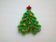Quilling Christmas decoration: make quilling Christmas tree magnet. - YouTube