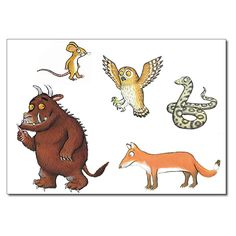 The Gruffalo characters Gruffalo Activities, Gruffalo Party, The Gruffalo, Reading Activities, Kindergarten Activities, Gruffalo Eyfs, Gruffalo Characters, Gruffalo's Child, Story Sack