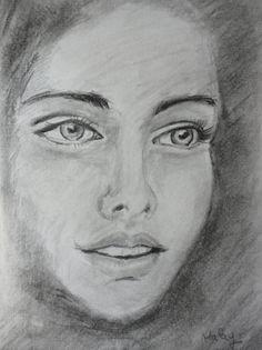"""""""Rosto de Mulher"""" - Desenho a lápis de grafite HB e carvão (Malay - 27/5/14)"""