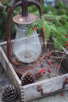 Old rusty lantern in rustic wood box, greenery and berries