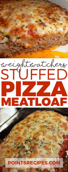 Stuffed Pizza Meatloaf -Use full fat ingredients use crushed pork rinds in place of the bread. Skinny Recipes, Meat Recipes, Cooking Recipes, Healthy Recipes, Meatloaf Recipes, Healthy Dishes, Healthy Meals, Weigt Watchers, Weight Watchers Smart Points