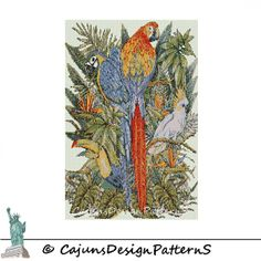 BIRDS of PARADISEPeyote 2 DropTapestryWall by CajunsDesignPatternS, $12.00