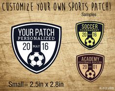 SMALL Circle Soccer Sport Patches - 100% Personalized Soccer Patches