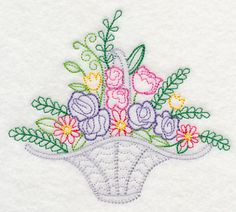 Fresh Flower Basket 3 (Vintage) design (K2136) from www.Emblibrary.com
