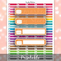 Erin Condren Birthday Stickers + Printable Planner Stickers for EC and MAMBI Planners - Instant Digital Download PDF
