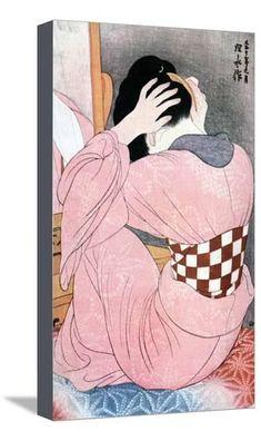 'Woman Wearing an Under-Sash' by Japanese painter woodblock printmaker Ito Shinsui Woodblock print. via Scholten Japanese Art Japan Illustration, Japanese Woodcut, Art Chinois, Japan Painting, Art Asiatique, Art Japonais, Japanese Prints, Japanese Art Modern, Japan Art
